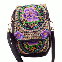 Embroidered Floral Boho Purse Purple 2 Bags