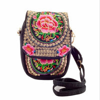 Embroidered Floral Boho Purse Red 2 Bags