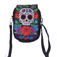 Embroidered Floral Boho Purse Skull Bags