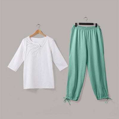 Embroidered Linen Buddhist Meditation 2-Piece Clothing Set Mind and Spirit