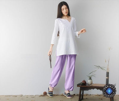 Embroidered Linen Buddhist Meditation 2-Piece Clothing Set Purple / M Mind and Spirit