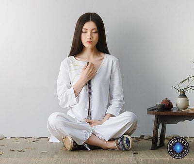 Embroidered Linen Buddhist Meditation 2-Piece Clothing Set White / M Mind and Spirit