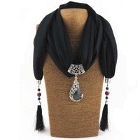 Enchanting Phoenix Stone Tasseled Scarf Black Clothing