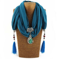 Enchanting Phoenix Stone Tasseled Scarf Blue Clothing
