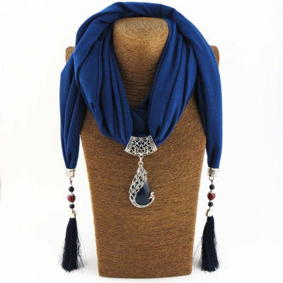 Enchanting Phoenix Stone Tasseled Scarf Dark Blue Clothing
