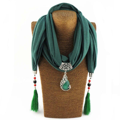 Enchanting Phoenix Stone Tasseled Scarf Green Clothing