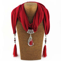 Enchanting Phoenix Stone Tasseled Scarf Red Clothing