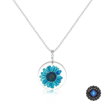 Eternal Spring Flower Pendant Necklace Blue - Ball Chain Necklace
