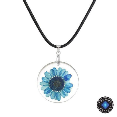 Eternal Spring Flower Pendant Necklace Blue - Rope Chain Necklace