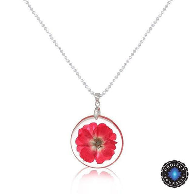 Eternal Spring Flower Pendant Necklace Fuchsia - Ball Chain Necklace
