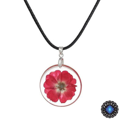 Eternal Spring Flower Pendant Necklace Fuchsia - Rope Chain Necklace