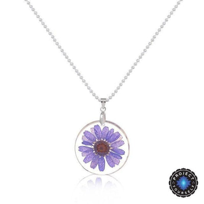 Eternal Spring Flower Pendant Necklace Purple - Ball Chain Necklace