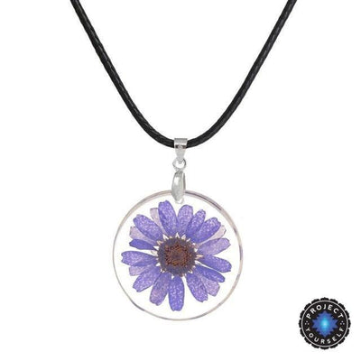 Eternal Spring Flower Pendant Necklace Purple - Rope Chain Necklace