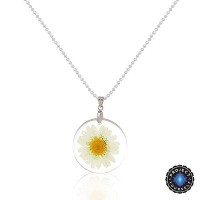 Eternal Spring Flower Pendant Necklace White - Ball Chain Necklace