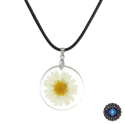 Eternal Spring Flower Pendant Necklace White - Rope Chain Necklace