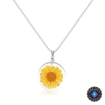 Eternal Spring Flower Pendant Necklace Yellow - Ball Chain Necklace