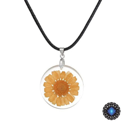 Eternal Spring Flower Pendant Necklace Yellow - Rope Chain Necklace