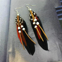 Ethnic Dreamer Feather Dangling Earrings Black Earrings