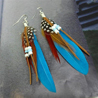 Ethnic Dreamer Feather Dangling Earrings Blue Earrings