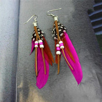 Ethnic Dreamer Feather Dangling Earrings Bright Pink Earrings