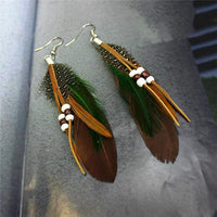Ethnic Dreamer Feather Dangling Earrings Brown Earrings