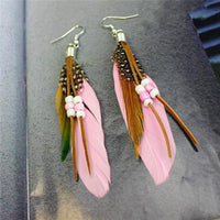 Ethnic Dreamer Feather Dangling Earrings Light Pink Earrings