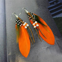 Ethnic Dreamer Feather Dangling Earrings Orange Earrings