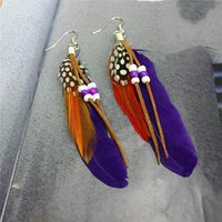 Ethnic Dreamer Feather Dangling Earrings Purple Earrings
