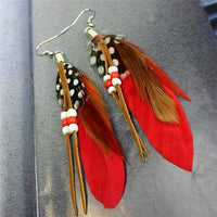 Ethnic Dreamer Feather Dangling Earrings Red Earrings