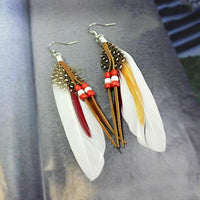 Ethnic Dreamer Feather Dangling Earrings White Earrings