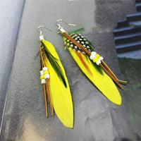 Ethnic Dreamer Feather Dangling Earrings Yellow Earrings