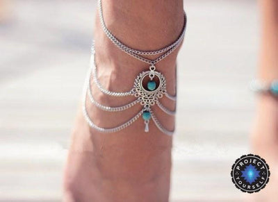 Ethnic Turquoise Beads Layered Foot Chain Anklets Anklets