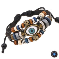 Evil Eye Adjustable Leather Bracelet Black Bracelet