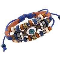 Evil Eye Adjustable Leather Bracelet Blue Bracelet