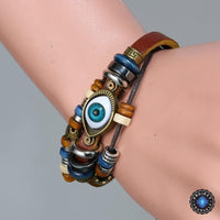 Evil Eye Adjustable Leather Bracelet Bracelet