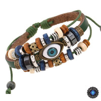 Evil Eye Adjustable Leather Bracelet Green Bracelet