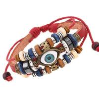 Evil Eye Adjustable Leather Bracelet Red Bracelet