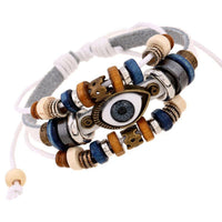 Evil Eye Adjustable Leather Bracelet White Bracelet