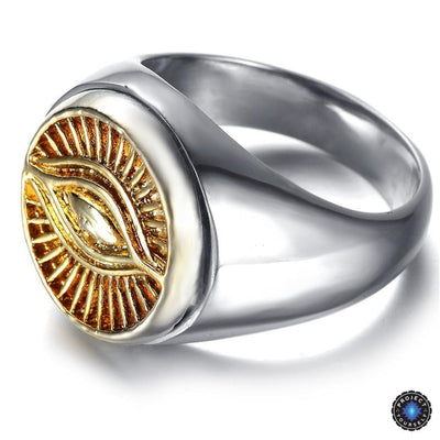Eye of Horus 2-Tone Stainless Steel Ring 8 Rings