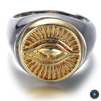 Eye of Horus 2-Tone Stainless Steel Ring Rings