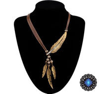 Feather Necklace of Truth Brown Gold Necklace