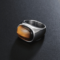 Ferocity Tiger Eye Signet Ring Gold / 7 Rings