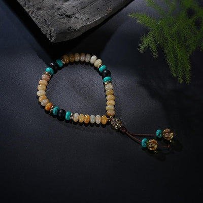 Flat Natural Lapis Lazuli Stone Mala Bracelet With 6 Syllable Mantra Tassel and Buddha Head Charm Bracelet