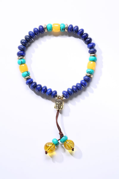 Flat Natural Lapis Lazuli Stone Mala Bracelet With 6 Syllable Mantra Tassel and Buddha Head Charm Lapis Lazuli Bracelet