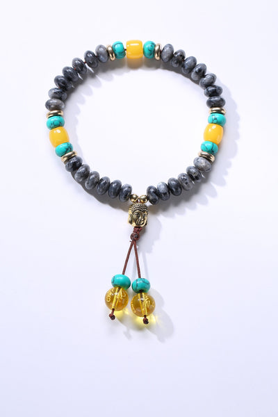Flat Natural Lapis Lazuli Stone Mala Bracelet With 6 Syllable Mantra Tassel and Buddha Head Charm Spectrolite Bracelet