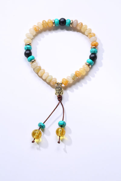 Flat Natural Lapis Lazuli Stone Mala Bracelet With 6 Syllable Mantra Tassel and Buddha Head Charm Yellow Onyx Bracelet