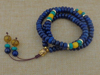 Flat Natural Lapis Lazuli Stone With 6 Syllable Mantra Tassel and Buddha Head Charm Mala Set Jewelry Set
