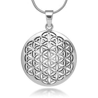 Flower of Life Pendant Necklace Silver Plated Silver 1 Necklace