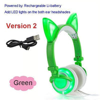 Foldable LED Cat Ear Headphones Green Ver.2 Accessories