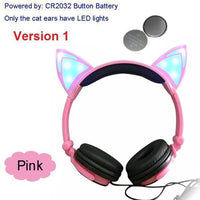Foldable LED Cat Ear Headphones Pink Ver.1 Accessories